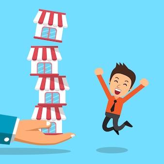 Mão dos desenhos animados com o conceito de negócio de franquia e empresário