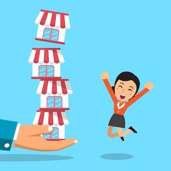 Mão dos desenhos animados com o conceito de negócio de franquia