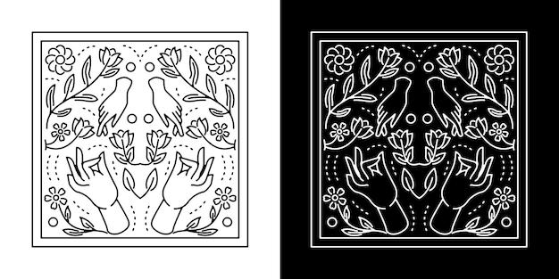 Mão dupla com design flor monoline