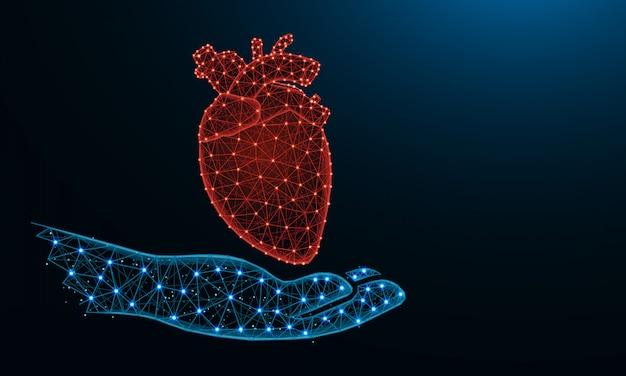 Mão e coração humano baixo poli