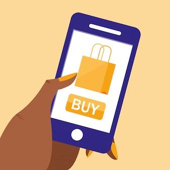 Mão e smartphone com compras on-line