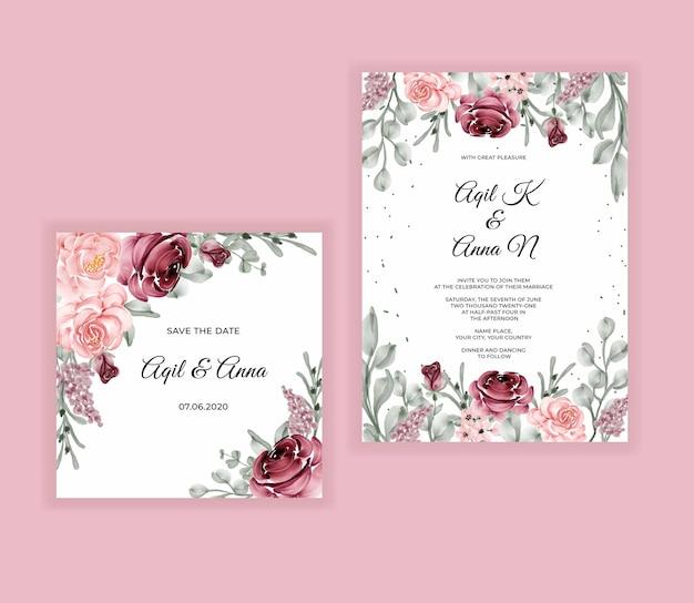 Mão elegante desenhando convite de casamento em aquarela floral