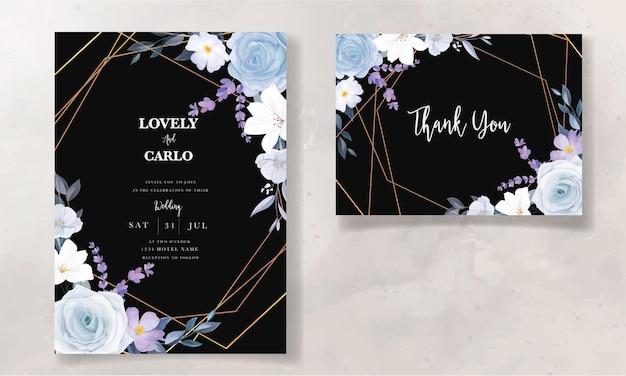Mão elegante desenho cartão de convite de casamento floral azul gelo