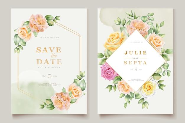 Mão elegante desenho convite de casamento design floral