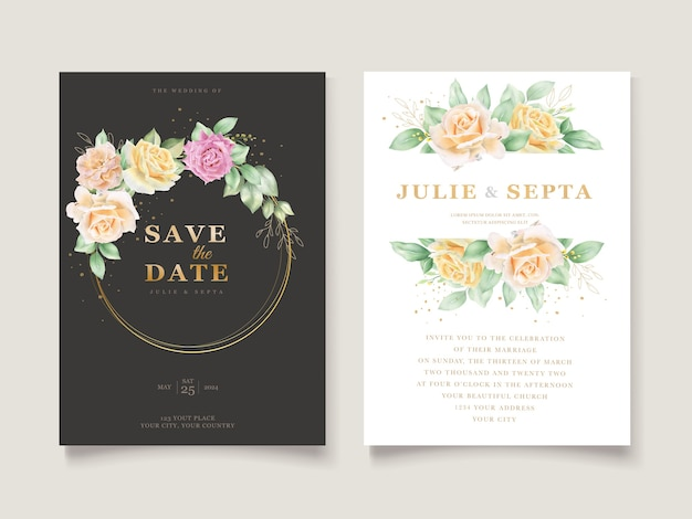 Mão elegante desenho de convite de casamento floral