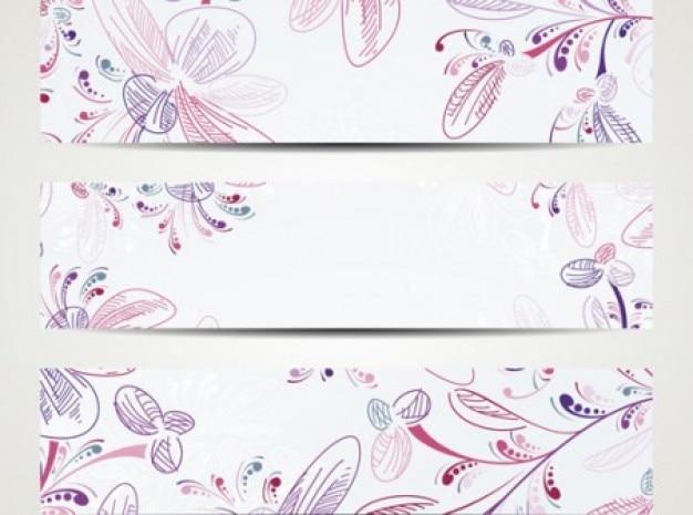 Mão elegante pintado padrões de fundo do vetor set