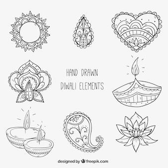 Mão elementos decorativos de diwali desenhada