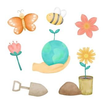 Mão em aquarela desenhando ícones para conjunto ambiental