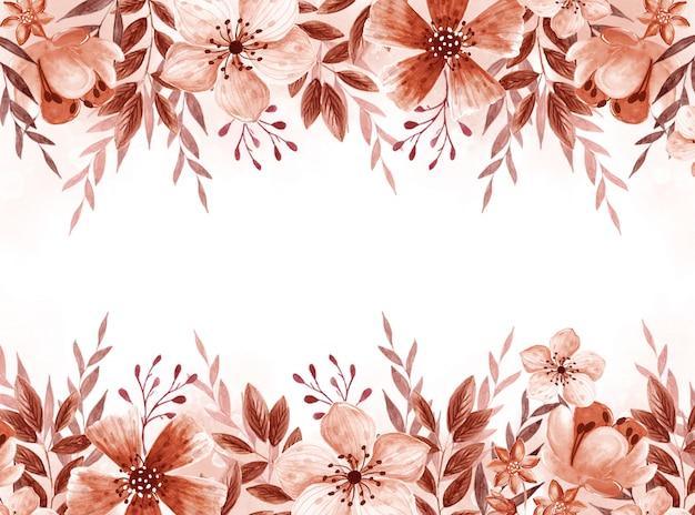 Mão em aquarela monocromática desenhar fundo floral.
