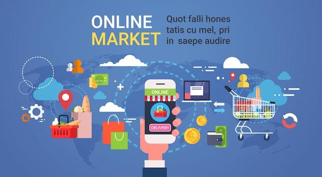 Mão em linha do mercado que guarda compras de mantimento dos produtos do telefone esperto e conceito da entrega do alimento