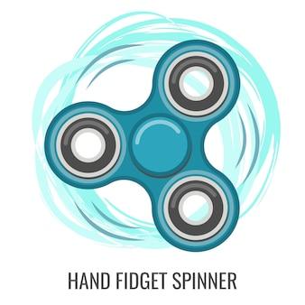 Mão em movimento fidget spinner cor azul brinquedo