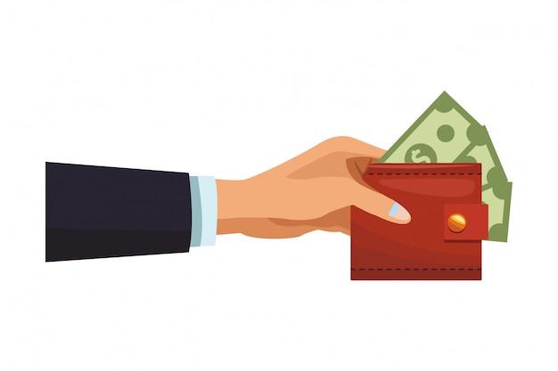 Mão empresário, com, carteira