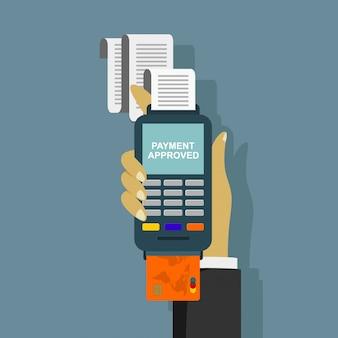 Mão empurrando o cartão de crédito para o terminal pos.
