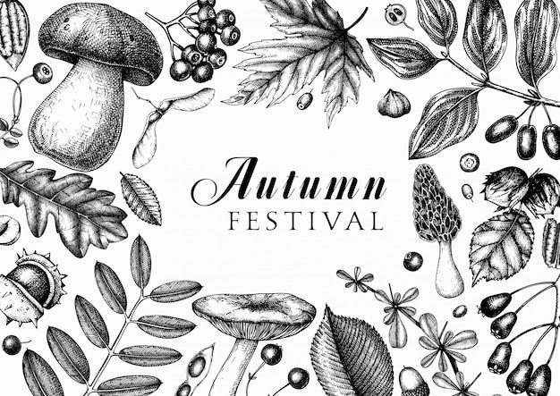 Mão esboçado outono em cores. modelo botânico elegante e moderno com folhas de outono, abóboras, frutas, sementes e desenhos de pássaros. perfeito para convites, cartões, folhetos, menu, embalagens.