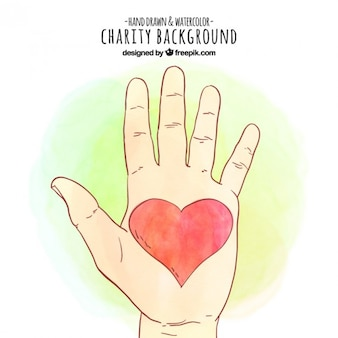 Mão esboço da aguarela com um fundo vermelho do coração