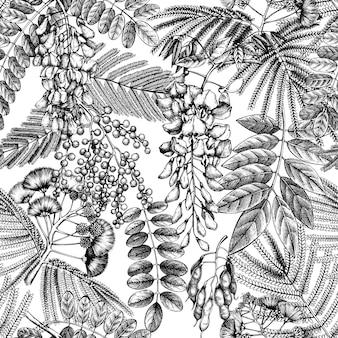 Mão esboçou árvores em flores padrão vintage