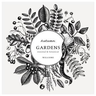 Mão esboçou folhas de outono retrô. modelo botânico elegante e moderno com desenhos de folhas, frutos, sementes e pássaros de outono. perfeito para convite, cartões, folhetos, menu, etiqueta, embalagem.