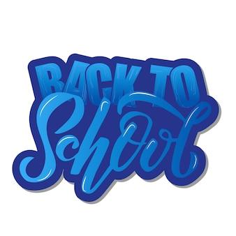Mão esboçou gradiente azul volta para escola letras com contorno em negrito.