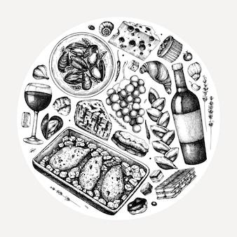 Mão esboçou ilustração de comida e bebidas francesa. composição da moda da cozinha francesa. perfeito para receita, menu, rótulo, ícone, embalagem. modelo vintage de alimentos e bebidas. ilustração de restaurante