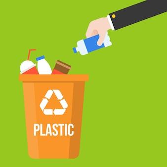 Mão, escolher, garrafa plástica, desperdício, e, coloridos, recicle lixo
