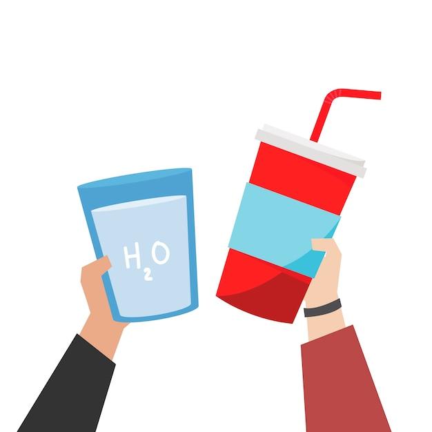 Mão, escolher, soda, e, planície, água, ilustração