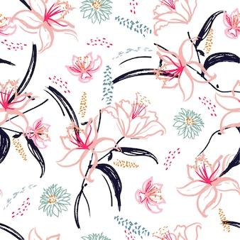 Mão escovada florescendo flor de lírio seamless pattern