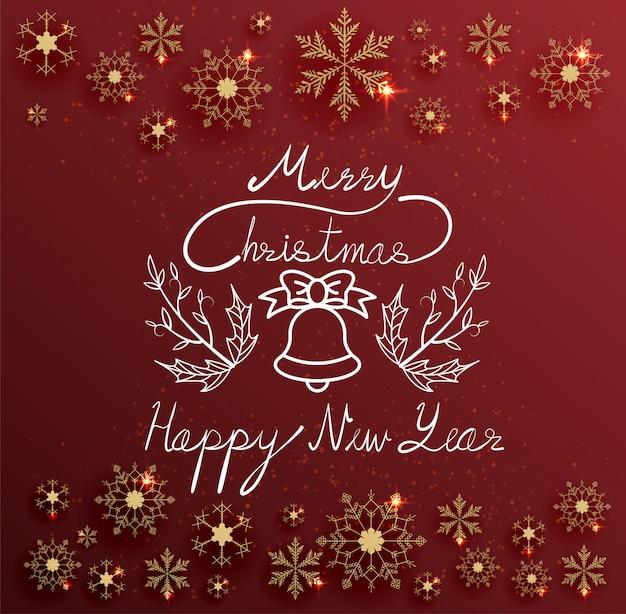 Mão escrevendo texto feliz natal e feliz ano novo em fundo vermelho com flocos de neve de ouro
