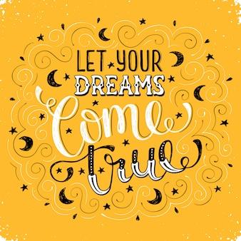 Mão escrita inspiradora citação sobre sonho