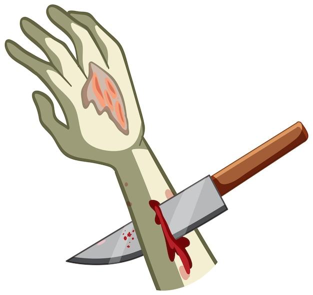 Mão esfaqueada de zumbi com faca