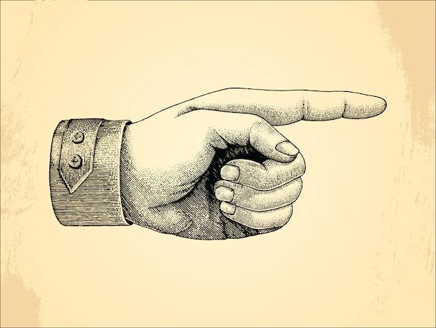 Mão esquerda humana, vintage de estilo de desenho