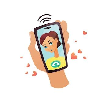 Mão está segurando o telefone móvel com o rosto de menina sorridente em exposição. videochamada, chat, conversa. conceito de desenho animado para aplicação, ilustração plana.