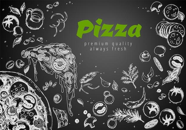 Mão-extraídas banner de linha de pizza. fundo de doodle de giz de estilo gravado. anúncios de pizza salgados com massa de coberturas ricas em ilustração 3d. banner de vetor saboroso para serviço de entrega de café, restaurante ou comida.