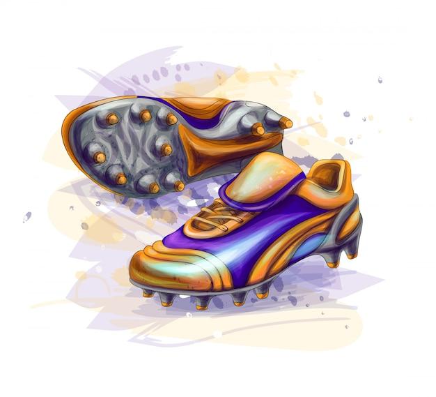 Mão-extraídas botas de futebol. chuteiras em um fundo branco
