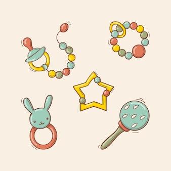 Mão-extraídas brinquedos coloridos do bebê, chocalhos, chupeta.