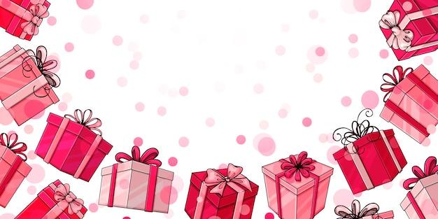Mão-extraídas caixas-de-rosa sobre fundo branco. modelo para seu projeto.