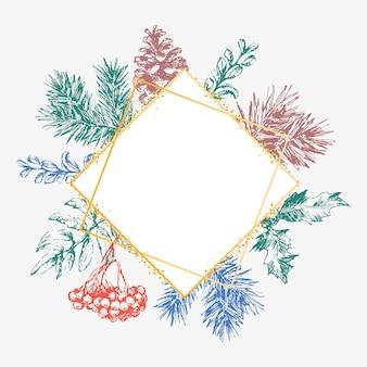 Mão-extraídas cartão de convite de natal e ano novo. mão-extraídas ilustração vetorial de coroa de flores retrô sobre fundo claro. coleção de férias de inverno