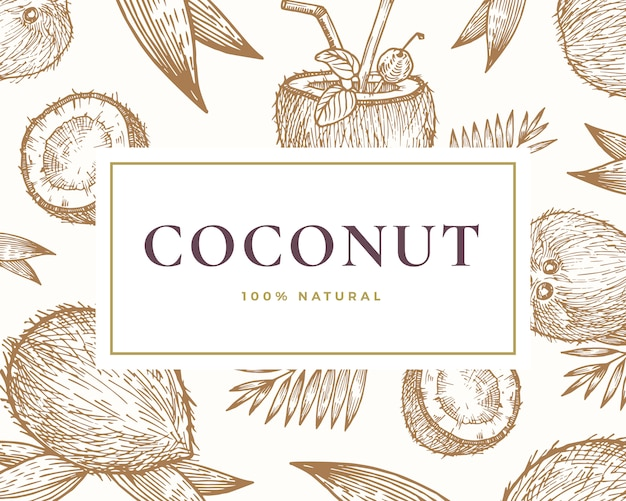 Mão-extraídas cartão de ilustração de coco. resumo mão desenhada cocos e fundo de esboços de folha de palmeira com tipografia retro elegante.