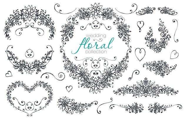 Mão-extraídas coleção de casamento e férias. conjunto de vetores preto e branco de quadros esboçados com ramos, grinaldas e flores. Vetor Premium