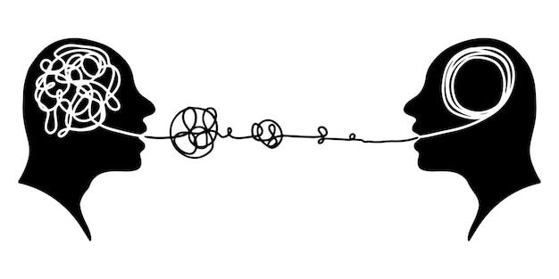 Mão-extraídas conceito de psicoterapia de silhueta de cabeça de dois humanos. elemento de design. ilustração vetorial.