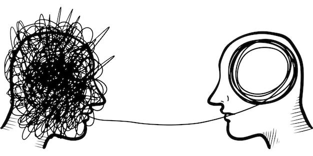 Mão-extraídas conceito de psicoterapia silhueta de cabeça de dois humanos. elemento de design. ilustração vetorial.