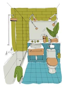 Mão-extraídas design de interiores de casa de banho moderna.