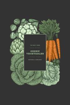 Mão-extraídas design de vegetais de cor vintage. modelo de banner de vetor de alimentos orgânicos frescos. fundo vegetal retrô. ilustrações botânicas tradicionais.
