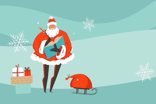 Mão-extraídas diversão abstrata feliz natal e feliz ano novo tempo cartoon ilustração cartão com natal papai noel isolado no fundo do artesanato.
