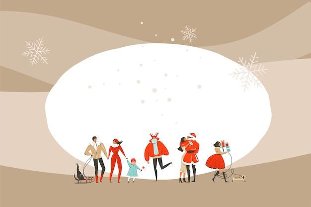 Mão-extraídas diversão abstrata feliz natal e feliz ano novo tempo cartoon ilustração cartão com pessoas de natal isoladas no fundo do artesanato.