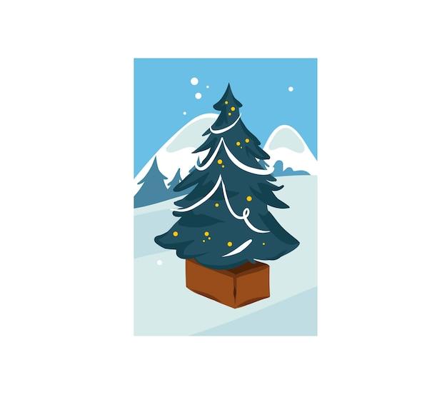 Mão-extraídas diversão plana feliz natal cartoon ilustração festiva da grande árvore de natal decorada ao ar livre na paisagem de inverno isolada.