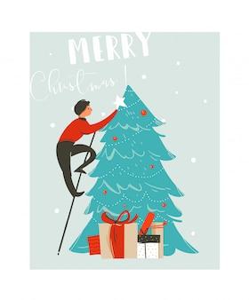 Mão-extraídas divertido abstrato cartão de ilustração dos desenhos animados de tempo de feliz natal com o pai que decorou a árvore de natal e caixas de presente surpresa sobre fundo azul.