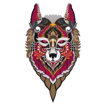 Mão-extraídas doodle zentangle fox ilustração-vetor.