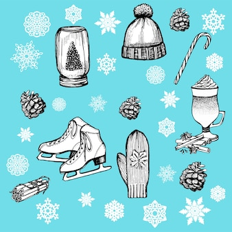 Mão-extraídas elementos de natal e ano novo.