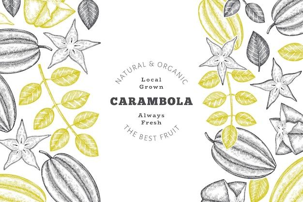 Mão-extraídas esboço estilo carambola fundo. frutas frescas orgânicas. frutas retrô