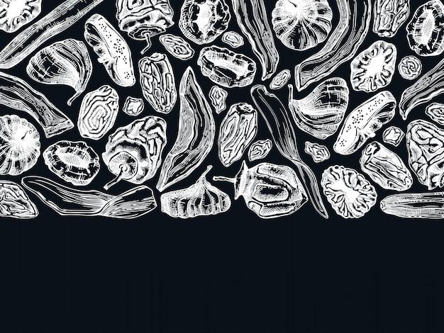 Mão-extraídas esboços de frutas secas no quadro de giz. modelo de folheto vintage frutas desidratadas. deliciosa sobremesa saudável - manga desidratada, melão, figo, damasco, banana, caqui, tâmaras, ameixa, uva passa.